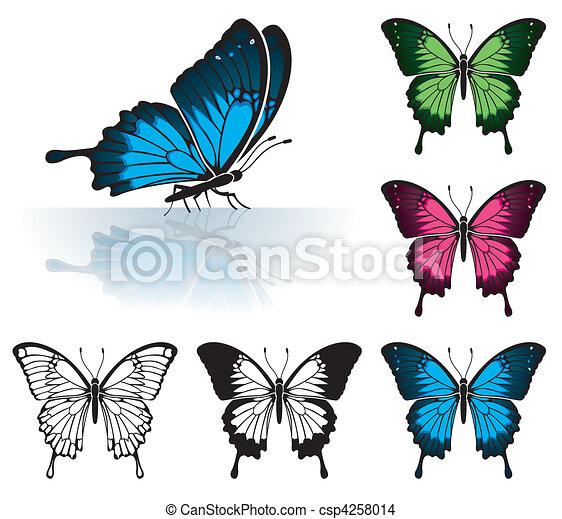 Vettore eps di farfalla raccogliere molti colorato for Foto farfalle colorate