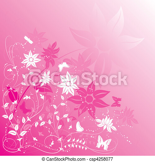 Background flower with butterfly - csp4258077
