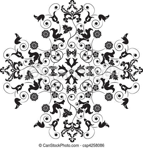 Element for design, corner flower, vector - csp4258086