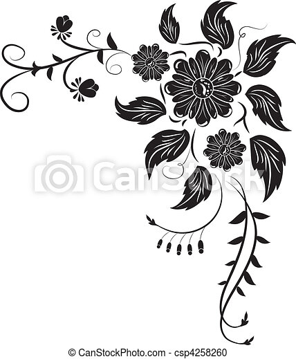 Element for design, corner flower, vector - csp4258260