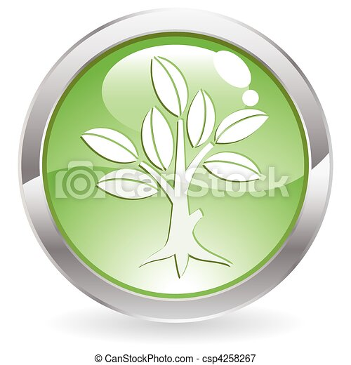 Gloss Button with tree - csp4258267