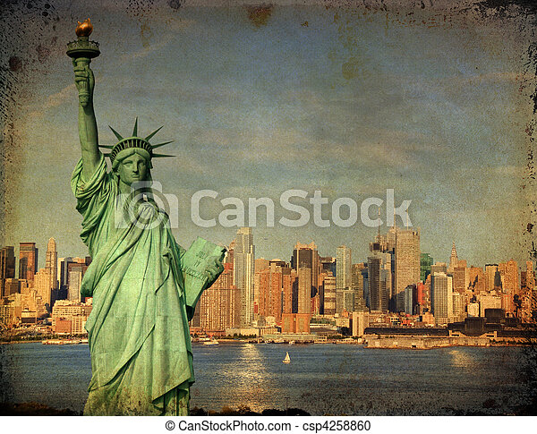 new york city tourism concept with statue liberty - csp4258860