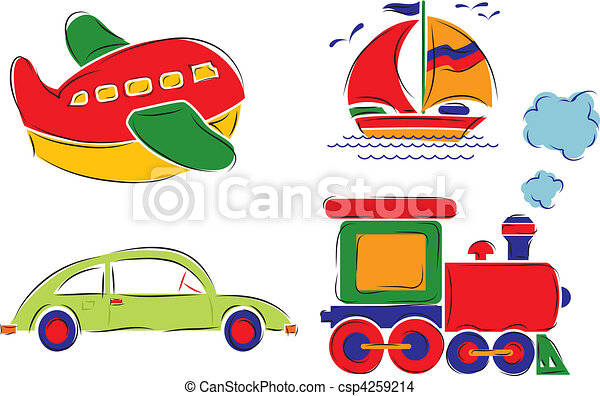 ?hild has drawn car, plane, ship and train, vector - csp4259214