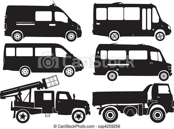Silhouette cars, vector - csp4259256