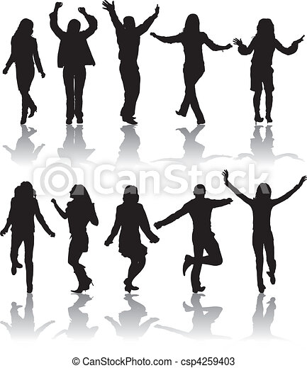 Vector Clipart of Vector silhouettes dancing man and woman ...