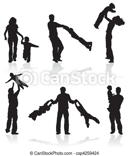 Silhouettes of parents with children - csp4259424