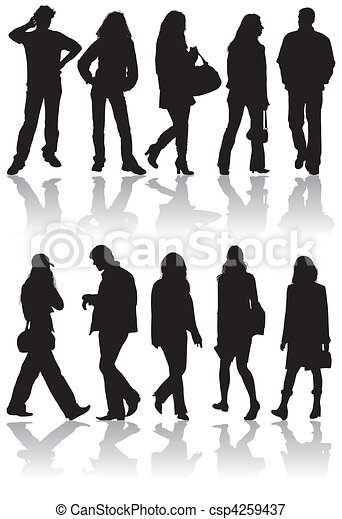Vector silhouettes man and women - csp4259437