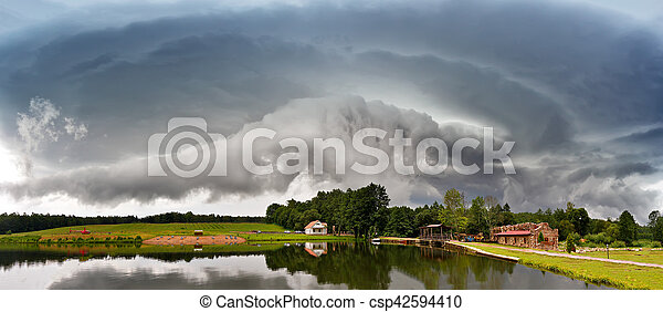 Summer storm landscape. Dramatic cloudy sky. Hurricane and rain in Belarus