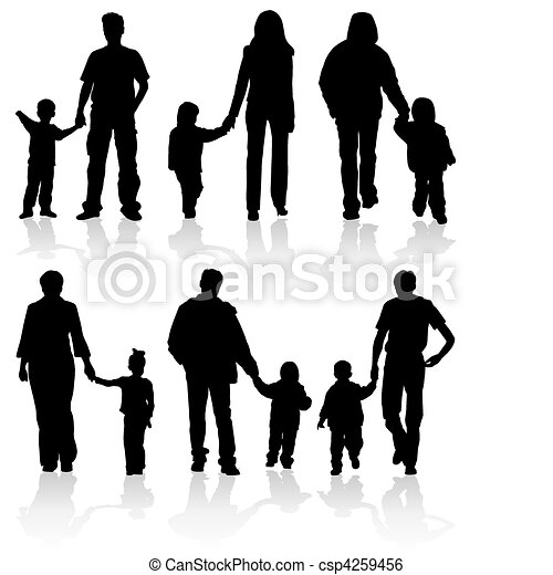 Silhouettes of parents with children - csp4259456