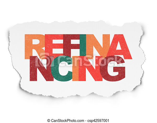 Business concept: Refinancing on Torn Paper background - csp42597001