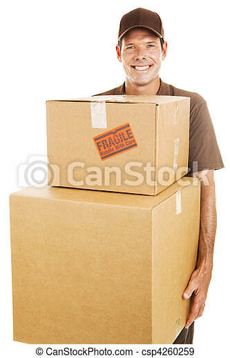 Delivery Man with Heavy Boxes - csp4260259