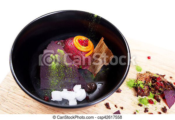 Molecular Cuisine. Delicious soup with beetroot. - csp42617558