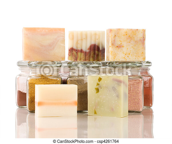 handmade soap and herb material - csp4261764