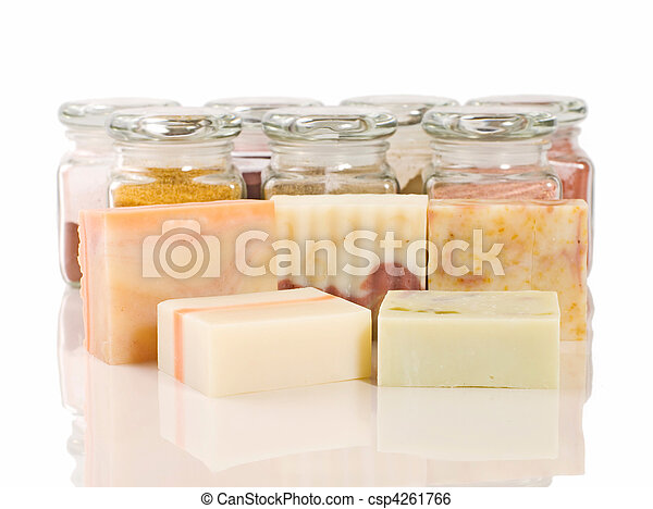 handmade soap and herb material - csp4261766
