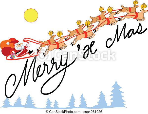 santa and reindeer xmas - csp4261926