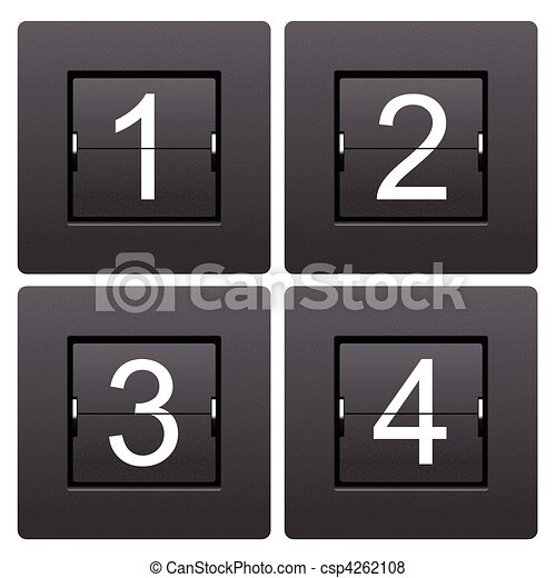 Numeric series 1 to 4 from mechanical scoreboard - csp4262108