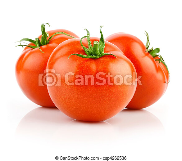 fresh red tomatoes isolated on white - csp4262536