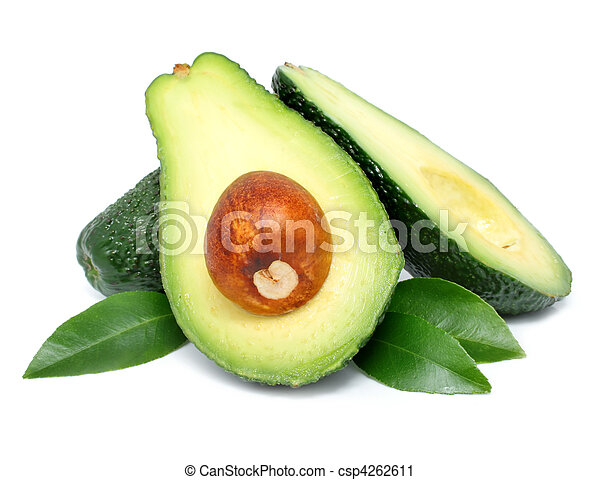 avocado fruits cut with leaf isolated on white - csp4262611