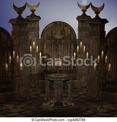 archaic altar or sanctum in a fantasy setting. 3D rendering of a fantasy theme. ideal for background usage. - csp4262789