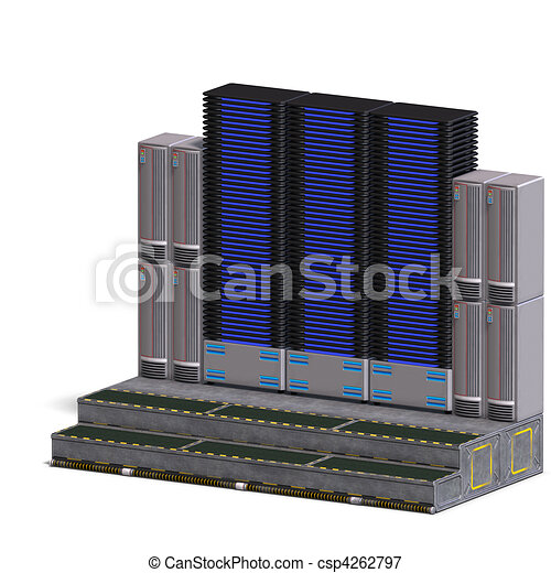 a historic science fiction computer or mainframe. 3D rendering and shadow over white - csp4262797
