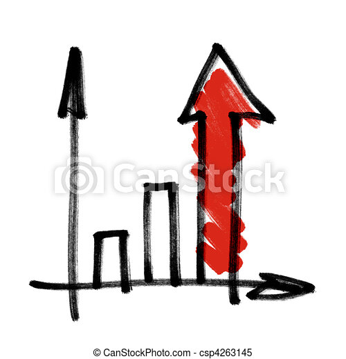 Successful business graph with red shaded arrow. - csp4263145