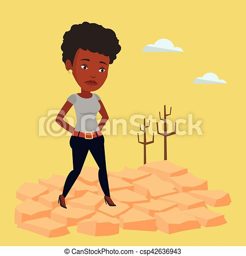 EPS vector de vector desierto mujer illustration triste  An