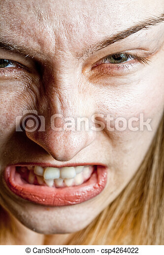Stress concept - closeup on angry displeased woman - csp4264022