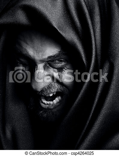 Rage of angry evil spooky malefic man - csp4264025