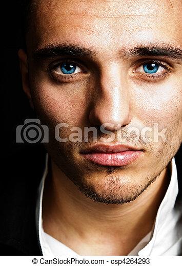 Sensual man with blue eyes - csp4264293
