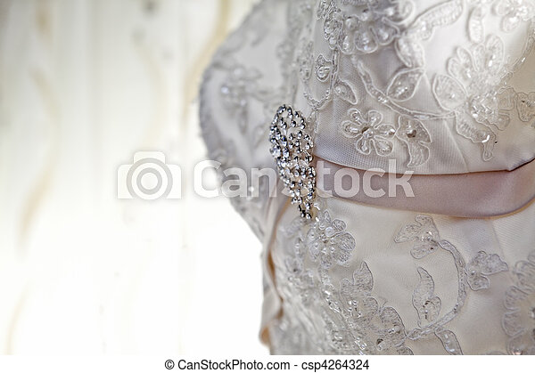 Luxury wedding dress with nice jewelry - csp4264324