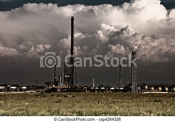 Pollution concept - industrial toxic refinery - csp4264326