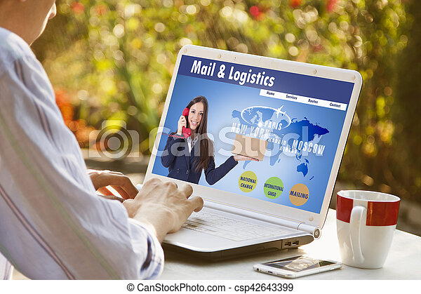 consulting service of transport and logistics in the laptop