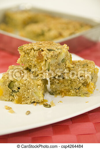 Three homemade flapjacks on white p - csp4264484