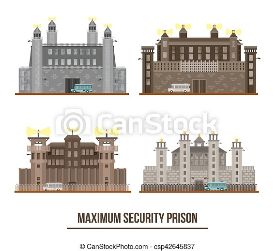 Interesting Prison Fence Drawing At Maximum Security With Towers Set Of Isolated Jail Building Facade Exterior View Prisoner Throughout Decor