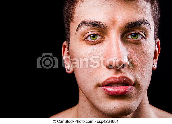 cara, guapo, sensual, hombre, aislado, negro - csp4264881