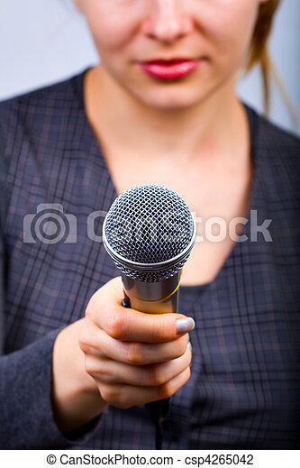 Reporter taking interview or opinion poll - csp4265042
