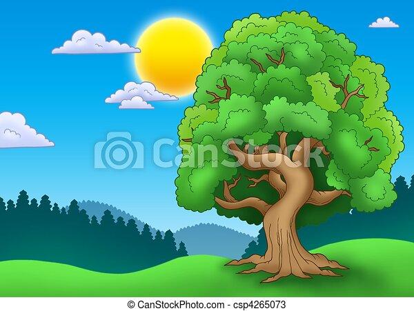 Dibujos de verde, frondoso, árbol, paisaje, -, Color, Ilustración ...