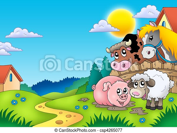 Landscape with various farm animals - csp4265077