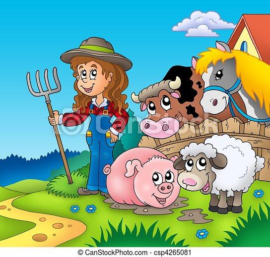 Clipart de ferme, pays, girl, animaux - pays, girl, à ...