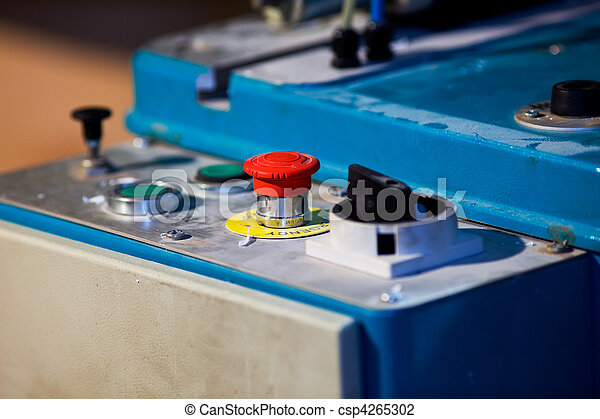 Emergency button on machine for cut plastic - csp4265302