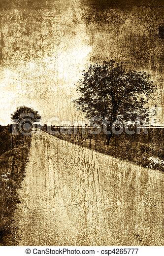 Rural road in sepia vintage style - csp4265777
