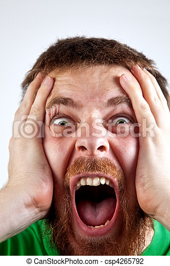 Win concept - scream of happy amazed man - csp4265792