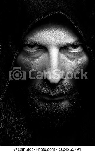 Dark portrait of scary evil sinister man - csp4265794
