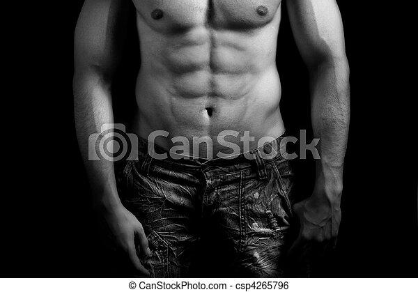Torso of muscular man with sexy abdomen - csp4265796