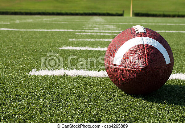 Closeup of American Football on Field - csp4265889