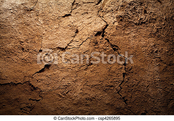 Texture background - dry cracked brown earth - csp4265895