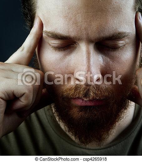 Meditation concept - face of peaceful serene man - csp4265918