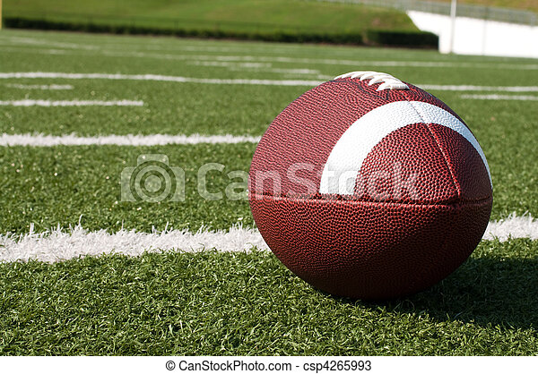 Closeup of American Football on Field - csp4265993