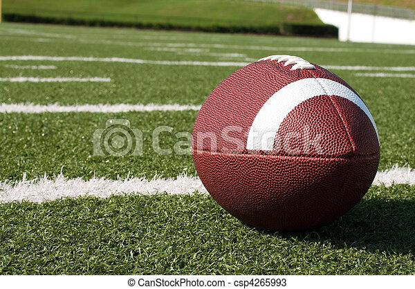 Closeup of American Football on Field - csp4265993