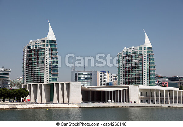 Residential towers over the Vasco da Gama shopping center in Lisbon, Portugal - csp4266146